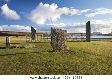 Standing Stones of Stenness, Orkney, Scotland. A neolithic stone circle which is part of The Heart of Neolithic Orkney World Heritage Site.