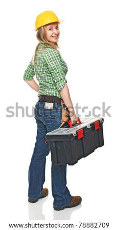 standing woman manual worker with toolbox isolated on white background