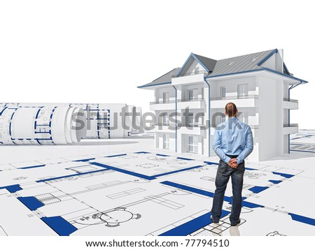 standing worker back view and 3d house