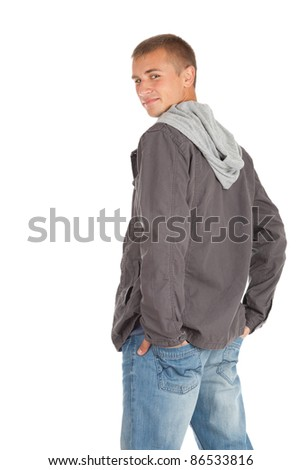 standing young man in casual clothes, white background