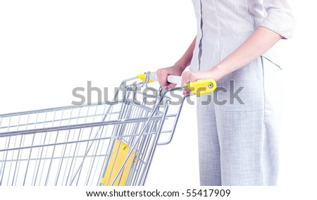 standing young woman with empty shopping cart