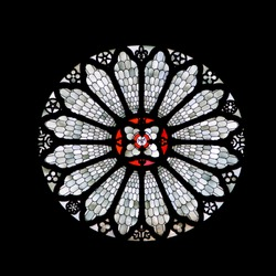 Staned-glass rose window of Trento cathedral