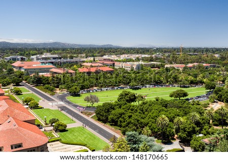 STANFORD, CA/USA - JULY 6: Overhead view of the main oval grass entrance to  Standford University. July 6, 2013.