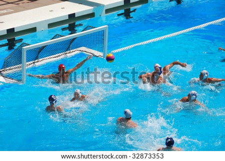 STANFORD, CALIFORNIA - JUNE 7: USA versus SERBIA compete in a friendly water polo game at the Avery Aquatic Center in Stanford, CA on June 7, 2009.