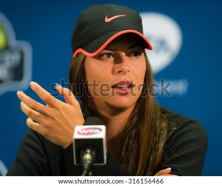 STANFORD, UNITED STATES - AUGUST 6 :  Ajla Tomljanovic talks to the media at the 2015 Bank of the West Classic WTA Premier tennis tournament