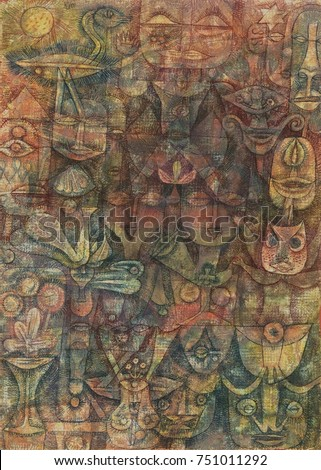 STANGE GARDEN, by Paul Klee, 1923, Swiss painting, watercolor, gouache, and ink. Human-like and animal faces, isolated facial features, and plants are drawn with line and hatching. Colors are applied