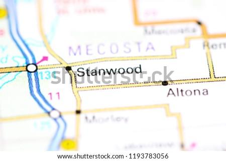 Stanwood Michigan Map.Shutterstock Puzzlepix