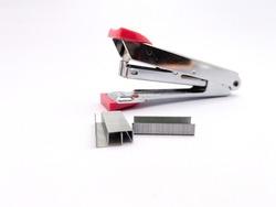 stapler and stapler pins isolated on white background