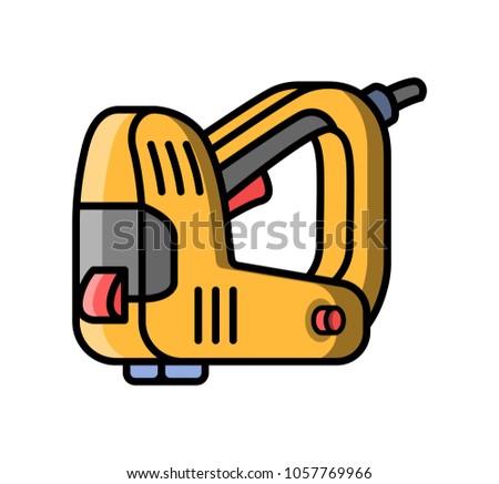 Stapler construction electric tool. Flat style icon of stapler. Raster version.