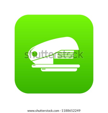 Stapler icon green isolated on white background