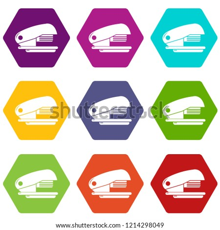 Stapler icons 9 set coloful isolated on white for web