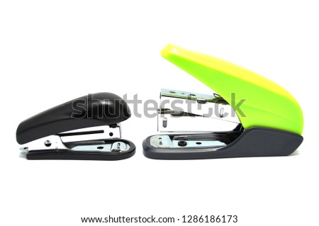 Stapler on a white background close-up. Office, stationery, item