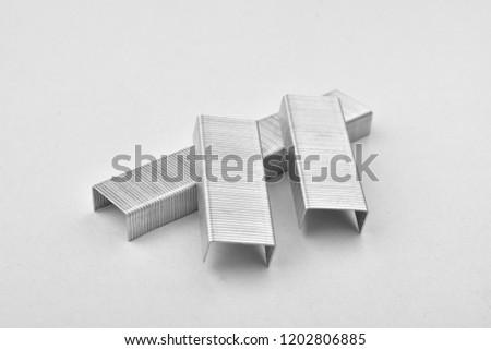 stapler pins isolated on white