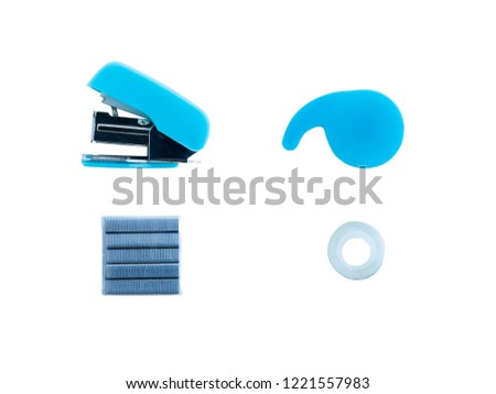 Stapler Staple Tape cutter and Adhesive tape isolated on white background, Office tools accessory