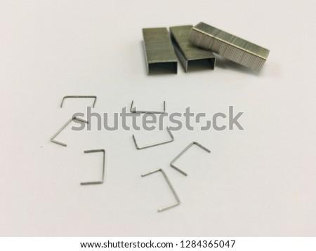 stapler, staples with white background