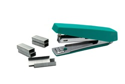 stapler with staple paper.A stapler is a mechanical device that joins pages of paper or similar material by driving a thin metal staple through the sheets and folding the ends.