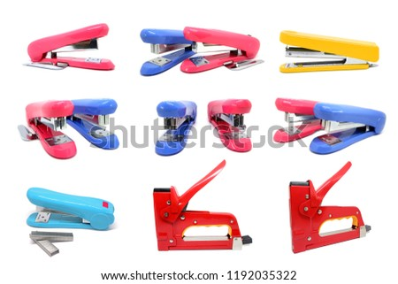 Staples and Large tacker or metal stapler many views isolated on white background.