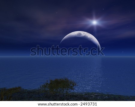 Star and Night Moon Over Sea