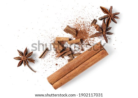 Star anise and cinnamon stick isolated on white background, top view  Foto stock ©