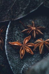 Star anise background dark photography macroshot spice Christmas ingredient closeup foodphotography