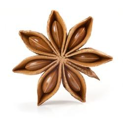 Star anise, badiane spice isolated on white background