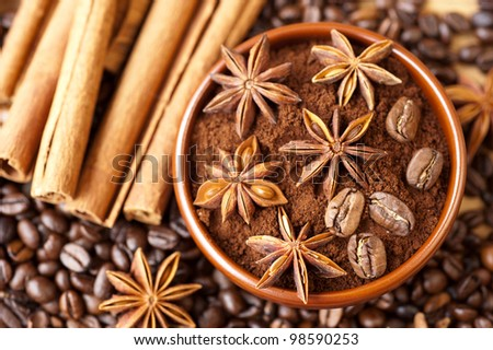 Star anise, cinnamon and coffee beans - stock photo