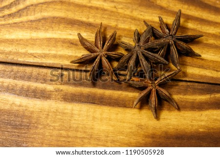 Star anise on wooden table