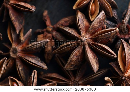 Star anise seeds. Background