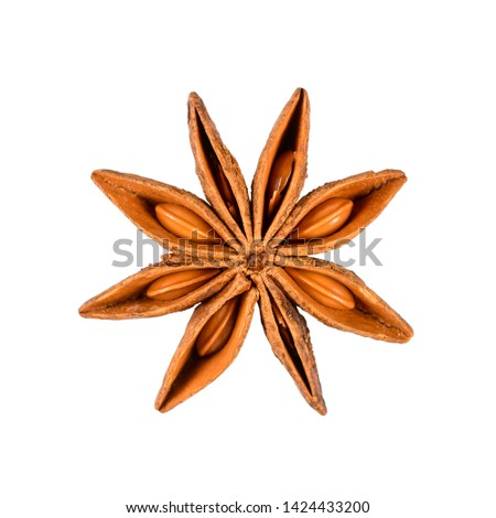 Star anise. Single star anise fruit. Macro close-up Isolated on white square background, top view of a chinese badiane spice or Illicium verum. #1424433200