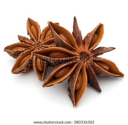 Star anise spice fruits and seeds isolated on white background closeup #380336302