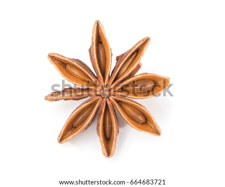 Star anise spice fruits and seeds isolated on white background closeup #664683721