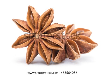 Star anise spice fruits and seeds isolated on white background closeup #668564086