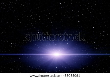 Star-Burst in Space with Star Filled Background