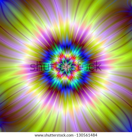 Star Burst In Yellow and Mauve / Digital abstract fractal image with a six pointed star design in yellow, mauve, blue and green.