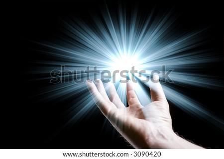 Star burst with open hand underneath