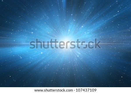 Star explosion in a galaxy of an unknown universe - birth of a star