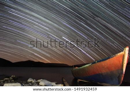 Star Exposure on Aygır Lake , Kars - Turkey Stok fotoğraf ©