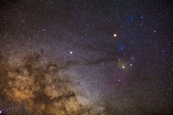Star field and nebulae in Rho Ophiuchus Captured with an amateur DSLR Camera