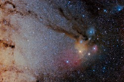 Star field and nebulae in  Rho Ophiuchus Captured with an amateur telescope