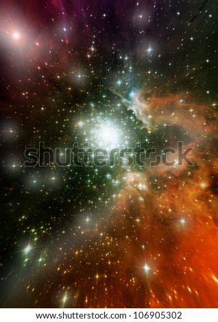 Star field in space, a nebulae and a gas congestion