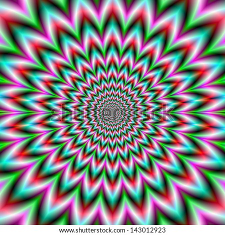 Star Flower in Green and Pink / Digital abstract fractal image with a psychedelic star shaped design in pink and green rings.