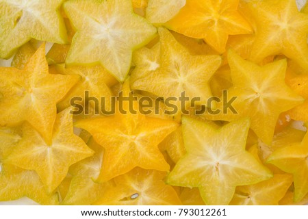 Star fruit, starfruit or star apple , Averrhoa carambola slice background Сток-фото ©