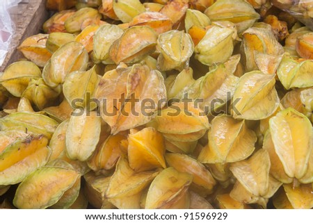 Star Fruits on market - Averrhoa carambola in San Jose, Costa Rica