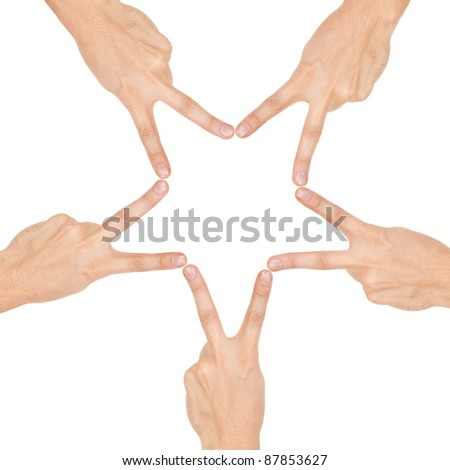 star made of human hands isolated on white background