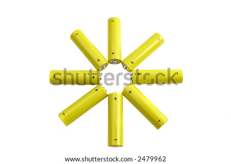 Star made of yellow batteries isolated over a white background