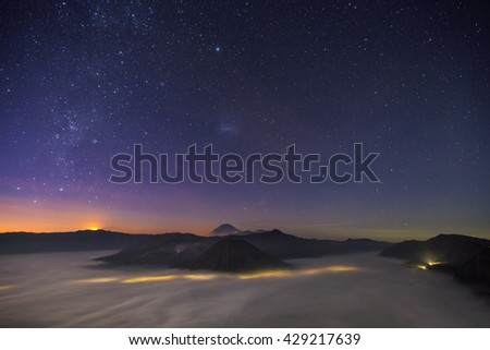 Star mountain from top view of Bromo, Indonesia #429217639