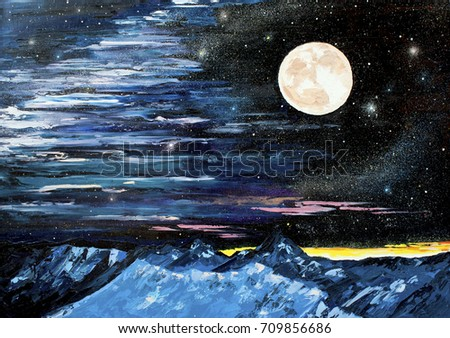 Star mountain Moon oil painting