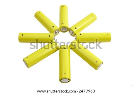 Star of AAA batteries isolated over a white background