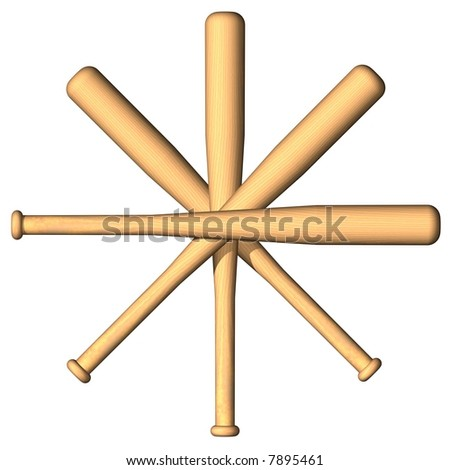 Star of baseball bats isolated on white