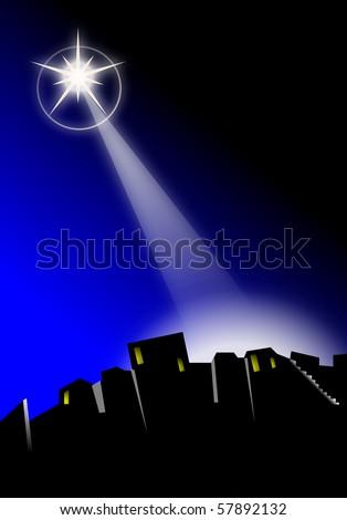 Star of Bethlehem shining down at Christmas